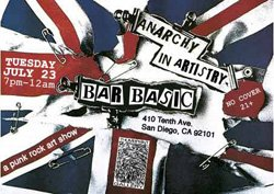 """Promotional image for Thumbprint Gallery's """"Anarchy in Artistry: A Punk Rock Art Show"""" on July 23rd."""