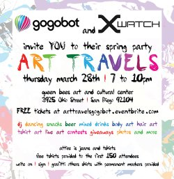 Promotional graphic for the Art Travels Party on March 28th, 2013.