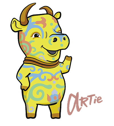 Image of the San Diego Museum of Art's Family Mascot, ARTie. Courtesy of the San Diego Museum of Art.