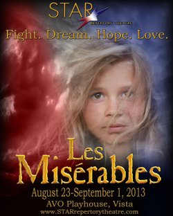 """Promotional image of STAR Repertory Theatre's """"Les Misérables"""" performing at Avo Playhouse. Courtesy image of STAR Repertory Theatre."""