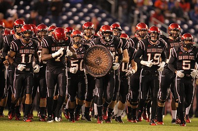 Promotional image of the 2012 Aztec Mens Football team. Courtesy image of San Diego State Football.
