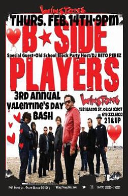 Promotional graphic for the B-Side Players live show at Winstons in Ocean Beach on Valentine's Day, February 14, 2013 at 9:30 p.m. Courtesy of Winstons