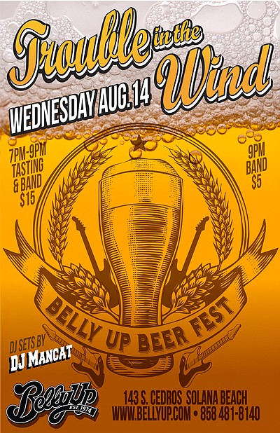 Promotional graphic for the Belly Up Beer Fest on August 14th, 2013. Courtesy of the Belly Up Tavern.