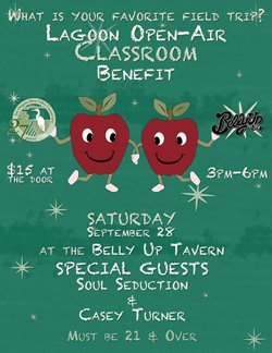 Promotional flyer for Open-Air Classroom Benefit At The Belly Up Tavern on September 28, 2013.