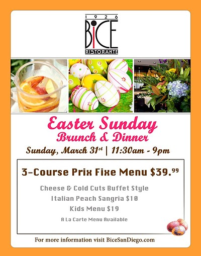 Promotional graphic for BiCE Ristorante's Easter Brunch on March 31st, 2013.