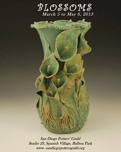 "Promotional image of San Diego Potters' Guild ""Blossoms,"" April 1-30 from 11am-4pm."