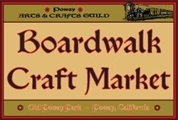 Promotional graphic for The Boardwalk Craft Market, a juried show with sale of arts and crafts by San Diego County artists.