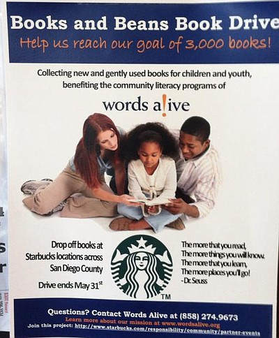 Promotional graphic for Books & Beans Book Drive at Starbucks through May 31, 2013. Courtesy of Words Alive