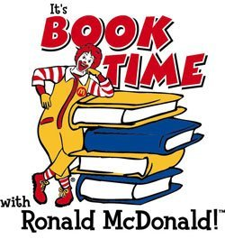 "Promotional logo for ""It's Book Time with Ronald McDonald!"""