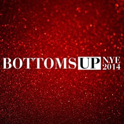 Promotional graphic for Bottoms Up New Year's Eve at the San Diego Marriott Gaslamp Quarter.