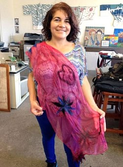 Image from a previous Paint A Scarf art class at the Bravo School of Art. Courtesy of the Bravo School of Art.