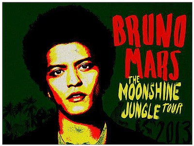 Promotional graphic for Bruno Mars' Moonshine Jungle Tour...