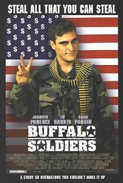 """Promotional movie poster from the film """"Buffalo Soldiers"""" playing at Central Public Library."""