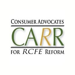 Graphic logo for Consumer Advocates for RCFE Reform [CARR].