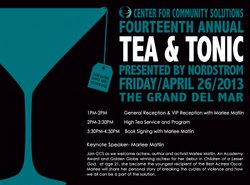 Promotional graphic for Center For Community Solutions' Tea & Tonic Event on April 26th, 2013.