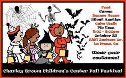 Promotional graphic for Charley Brown Children's Center Fall Festival on October 25th, 2013.