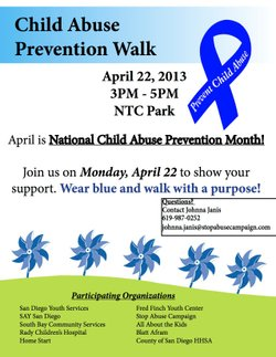 Promotional graphic for Child the Abuse Prevention Walk on Monday, April 22, 2013 from 3p.m. to 5 p.m.
