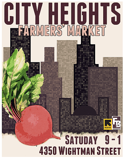 Promotional graphic for the City Heights Farmers' Market.