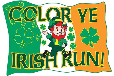 Promotional graphic for the 2013 Color Ye Irish Run/Walk on March 16th, 2013.