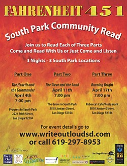 "Promotional flyer for South Park Reads ""Fahrenheit 451"" on April 4, 11, & 17, 2013."