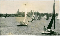 Historical image of sailboats in Coronado. Courtesy image of Coronado Museum of History.