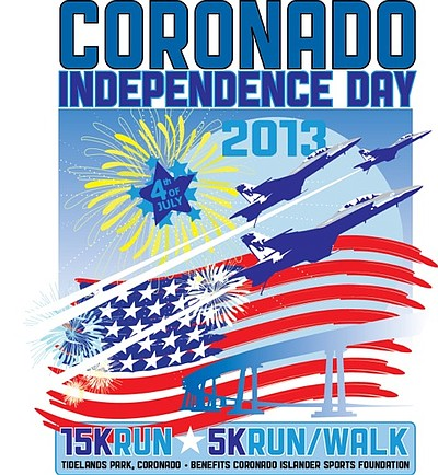 Promotional graphic for the Coronado Independence Day 15K Run-5K Run/Walk 2013.