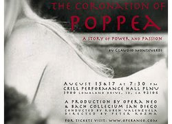 "Promotional graphic for ""The Coronation of Poppea."" Courtesy of Opera NEO, a summer opera festival based in San Diego"