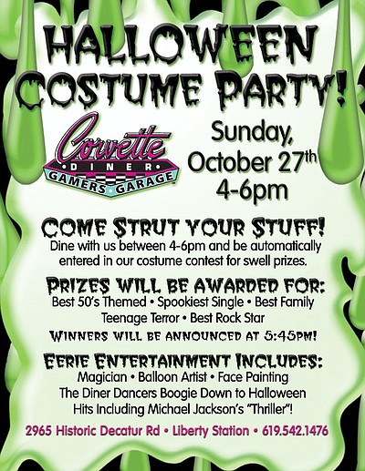 Promotional flyer for Corvette Diner's Costume Party & Monster Bash on October 27, 2013.