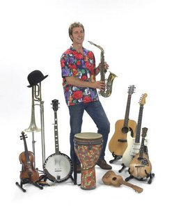 Promotional image of Craig Newton and instruments.