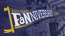 Promotional graphic for D23's Disney Fanniversary Celebration in San Diego on March 2nd.
