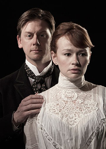 "Fred Arsenault stars as Torvald Helmer and Gretchen Hall as Nora Helmer in Henrik Ibsen's ""A Doll's House,"" translated and adapted by Anne-Charlotte Hanes Harvey and adapted and directed by Kirsten Brandt, March 23 - April 21, 2013 at The Old Globe. Photo by Henry DiRocco."