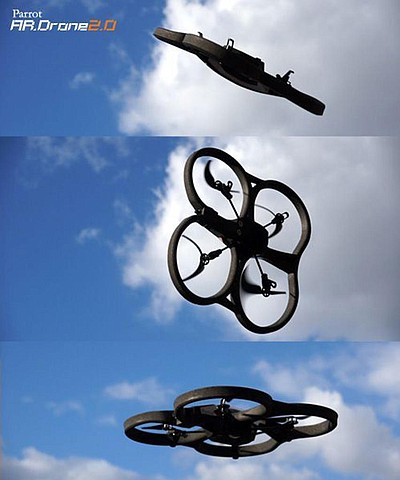 Promotional image of the AR.Drone2.0 as seen from different angles. Courtesy image of Reuben H Fleet Science Center.