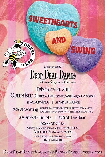Promotional graphic of Sweethearts & Swing at Queen Bee's Art and Cultural Center on Valentine's Day.