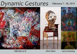 """Promotional image for San Diego Mesa College: Art Gallery's """"Dynamic Gestures"""" from February 7-28, 2013."""