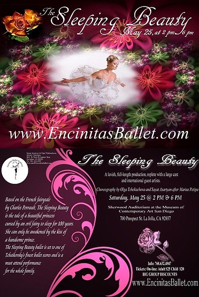 "Promotional graphic for Encinitas Ballet's enchanting production of ""The Sleeping Beauty"" on May 25, 2013 at 2 p.m. and 6 p.m."