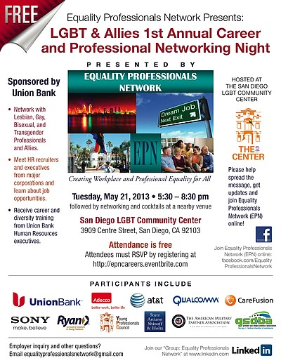 Promotional image for the LGBT & Allies Career & Professional Networking Night.