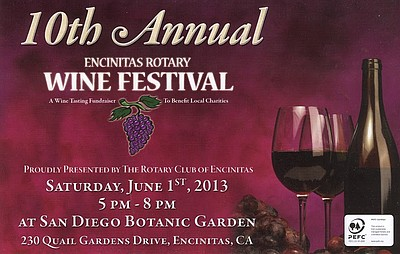 Promotional image for the 2013 Encinitas Rotary Wine Festival.