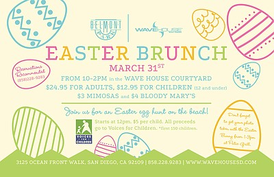 Promotional graphic for Easter Fun At Wave House And Belmont on March 31st, 2013. Courtesy of the Wave House San Diego.