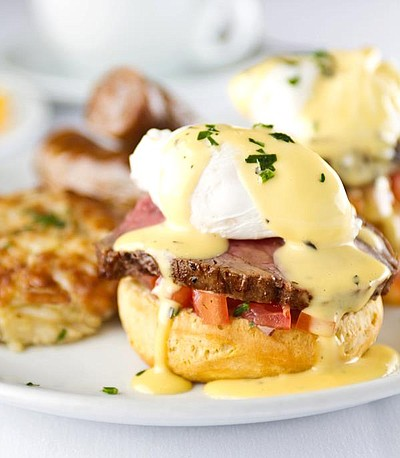 Image of Fleming's Filet Benedict. Courtesy of Fleming's Prime Steakhouse & Wine Bar