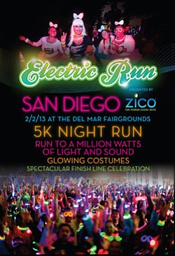 Promotional image of the Electric Run at the San Diego Fairgrounds on February 2nd.