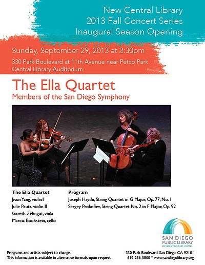 Promotional flyer for The Ella Quartet coming the San Diego Central Library on September 29th, 2013.