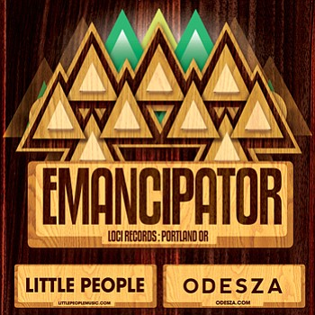 Promotional graphic for the performance of Emancipator, Little People, and Odesza on March 17th, 2013.