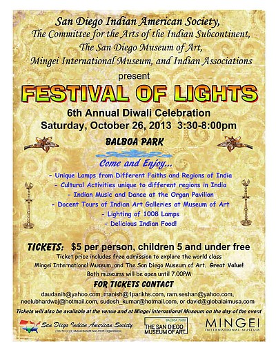 Promotional graphic for the 6th Annual Diwali Festival of Lights. Courtesy of the San Diego Indian American Society.