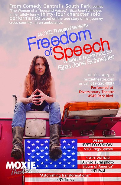 "Promotional graphic for the performance of ""Freedom Of Speech"" by Eliza Jane Schneider. Courtesy of Moxie Theatre."