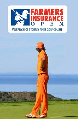Promotional image of Rickie Fowler participating in the Farmers Insurance Open from January 21tst-27th.