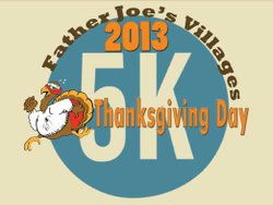 Promotional graphic for the Father Joe's Villages Thanksgiving Day 5K on November 28th, 2013.