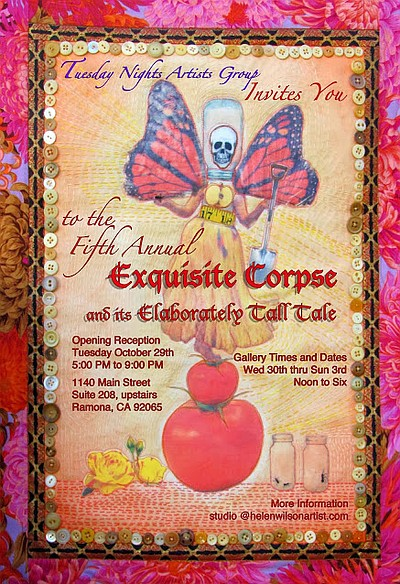 Promotional graphic for the The Fifth Annual Exquisite Corpse Exhibition: The Exquisite Corpse & Its Elaborately Tall Tale on display October 29th - November 3rd, 2013.