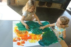 Image of children attending a previous Finger Painting Friday at the New Children's Museum. Courtesy of the New Children's Museum.
