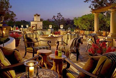 Promotional image of the Veranda Fireside Lounge Patio at the Rancho Bernardo Inn.