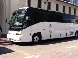 Image of a charter bus for the Five Stars Tours & Charter Company.